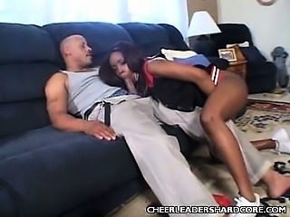Blowjob Cheerleader Ebony Interracial Teen Uniform