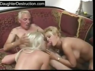 Blowjob Daddy  Old and Young Threesome