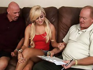 Blonde Daddy Old and Young Pigtail Teen Threesome