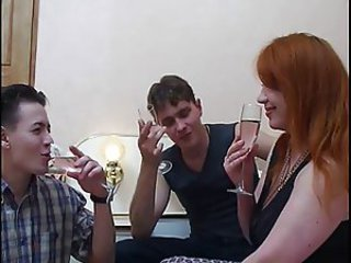 Amateur Drunk  Mom Old and Young Redhead Russian Threesome