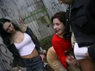 Clothed Handjob Outdoor Public Teen Threesome