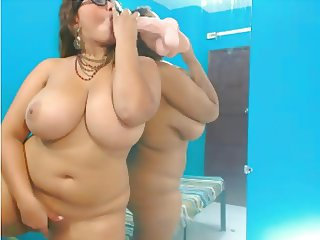Big Tits Dildo Glasses Latina Masturbating  Natural Solo Toy Webcam