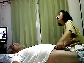 Sex life of Japanese elderly couple Having fun