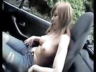 Amateur Asian Car Girlfriend Jeans Outdoor Public Stripper