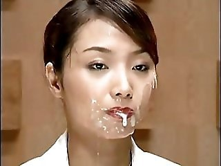 Asian Bukkake Cumshot Facial  Public Swallow