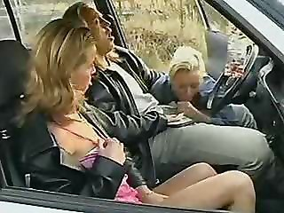 Amateur Blowjob Car Clothed Outdoor Teen Threesome