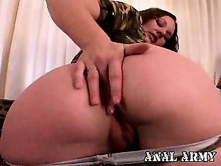 Good looking brunette army bitch Holly Day masturbating her sexy asshole