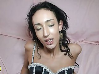 Babe Brunette Cumshot Cute European French Lingerie Skinny Swallow Teen