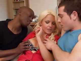 Blonde Interracial  Mom Old and Young Threesome