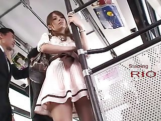 Asian Bus Gangbang Japanese  Public Secretary Skirt
