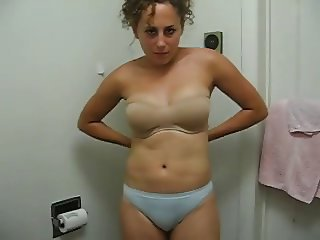 Natural Girl with Curls - Rubs her Body