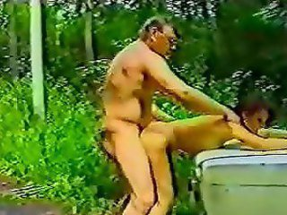 Amateur Daddy Daughter Doggystyle Old and Young Outdoor Vintage