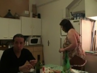Amateur  Drunk Kitchen Wife