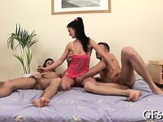 Brunette Handjob Teen Threesome