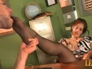 Very Hot Milf in black Pantyhose teasing guy giving him footjob blowjob free