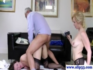 Daddy Doggystyle  Old and Young Stockings Threesome