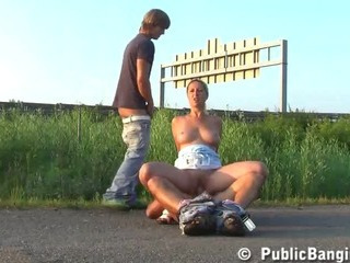 Amateur Clothed Outdoor Public Riding Teen Threesome