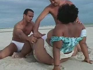 Beach Brazilian Latina  Old and Young Outdoor Threesome
