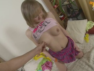Cute teen at home alone