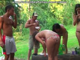 Wild outdoor group orgy with  sexy students