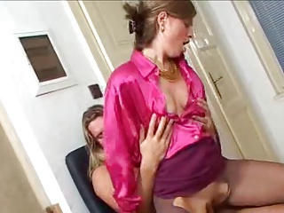 Woman In Pink Satin Blouse Sets Fucked