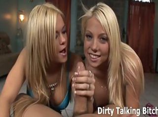 POV double blowjob from twosome hot blondes