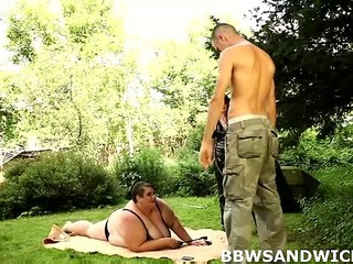 Mature Mom Old and Young Outdoor Threesome