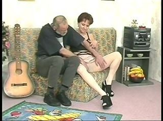 Slutty milf with pantyhose juices an older mans penis