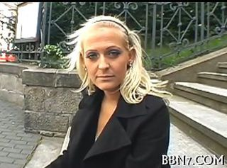 Blonde euro Babe tickles her clit in public