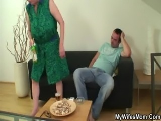 Cock hungry mom jumps on her son on law free