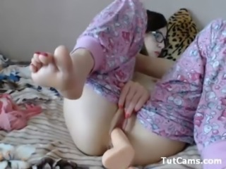 Dildo Glasses Masturbating Solo Teen Toy Webcam