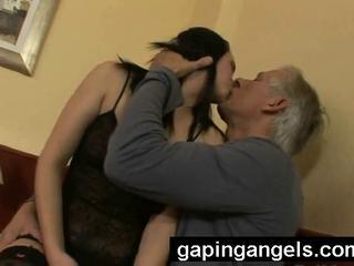Daddy Daughter Kissing Lingerie Old and Young Teen