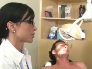 Couple Sleaze black haired Doctors  large fat thing inside the CFNM vid