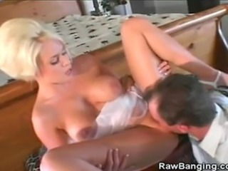 We have this hot blonde bride babe in this clip as she and her man gets...