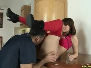 Rita gets fucked on the kitchen table.