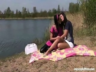 Beach Kissing Lesbian Outdoor Teen