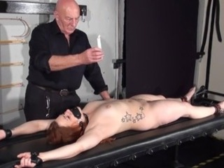 Learner bondman Louise inside dungeon rack bound and Dirty wax knocker...