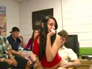 Brown-haired chick has shaged By Her Room Mates inside the Dorm