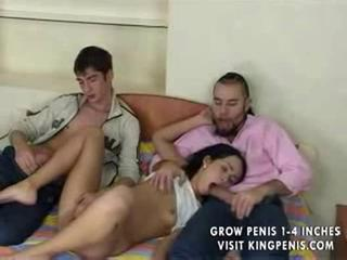 Blowjob Sleeping Teen Threesome