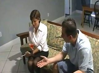 Drunk MILF Mom Smoking Stockings