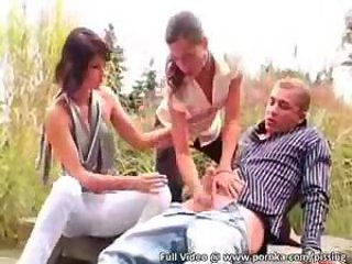 Babe Handjob Outdoor Threesome