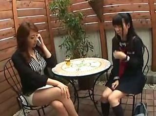 Asian Daughter Japanese  Mom Old and Young Student Teen Uniform