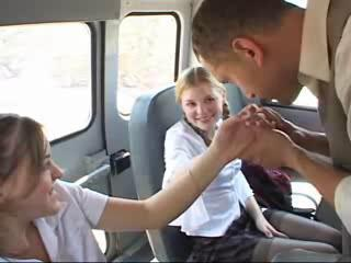 Bus Student Teen Threesome Uniform