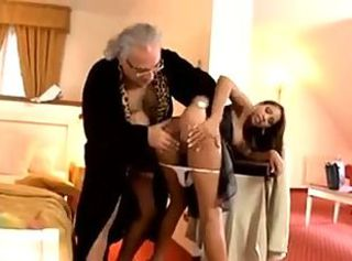 French maid katia de lys takes care of old gentalmen