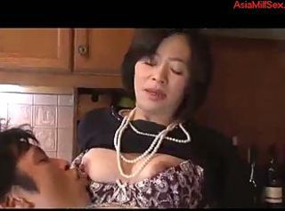 Asian Japanese Kitchen Mature Mom Nipples Old and Young