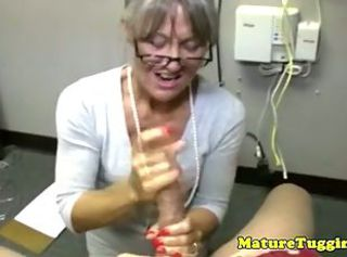 Glasses Handjob Mature Mom Old and Young Secretary