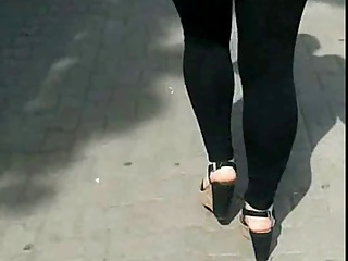 Candid #70 Girl with nice legs in leggings and wedges