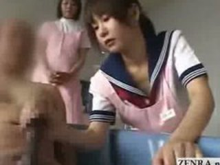 Japanese nurse caregivers give geezer a handjob with cumshot