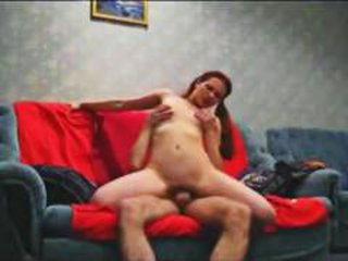 Sexy Amateur Redhead Riding Cock On Sofa