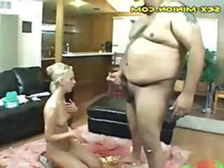 Hairy Fat Unloads Facial On Blonde